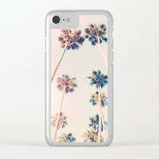 Vintage Pastel Palm trees Clear iPhone Case