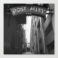 Post Alley in Seattle Washington - Black and White Canvas Print