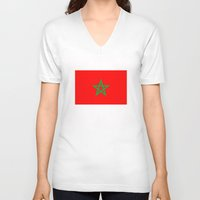 morocco V-neck T-shirts featuring Morocco country flag by tony tudor