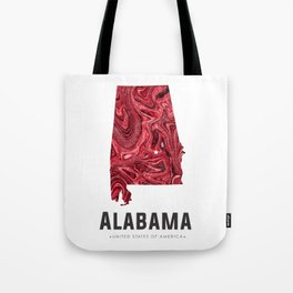 Alabama - State Map Art - Abstract Map - Red Tote Bag
