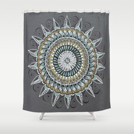 White Gold Green Mandala Mindfulness Art Shower Curtain