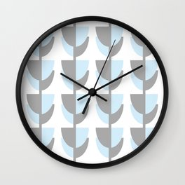 Tulips In Spring Time - Grey and Blue on White - Spring Time Series Wall Clock