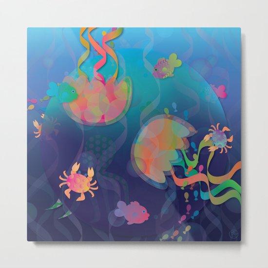 Neon Underwater Party Metal Print