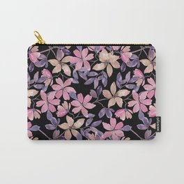 Cute watercolor pink, beige flowers on black Carry-All Pouch