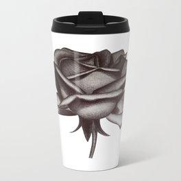 Black and White Rose in Ink Metal Travel Mug