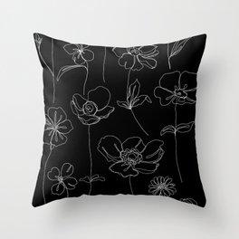Botanical illustration drawing - Botanicals Black Throw Pillow