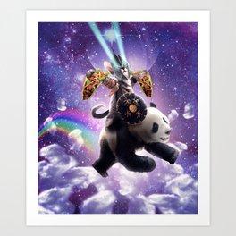 Lazer Warrior Space Cat Riding Panda With Taco Art Print