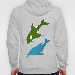 Green Orca and Dolphin Hoody