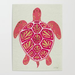 Sea Turtle in Pink & Gold Poster