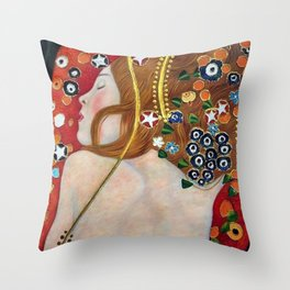 Female Form Sea Serpents No. 5 IV by Gustav Klimt Throw Pillow