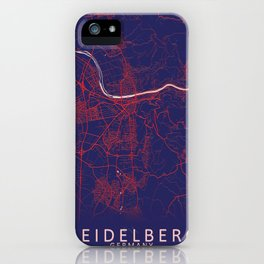Heidelberg, Germany, Blue, White, City, Map iPhone Case