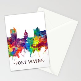 Fort Wayne Indiana Skyline Stationery Cards