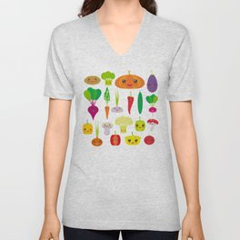 Kawaii vegetables peppers, pumpkin beets carrots, eggplant, red hot peppers, cauliflower, broccoli Unisex V-Neck