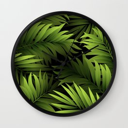 Tropical Frond Pattern Wall Clock