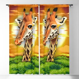 Giraffe on Wild African Savanna Sunset Blackout Curtain