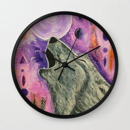 Spirit Wolf - Gold Lotus Oracle Wall Clock