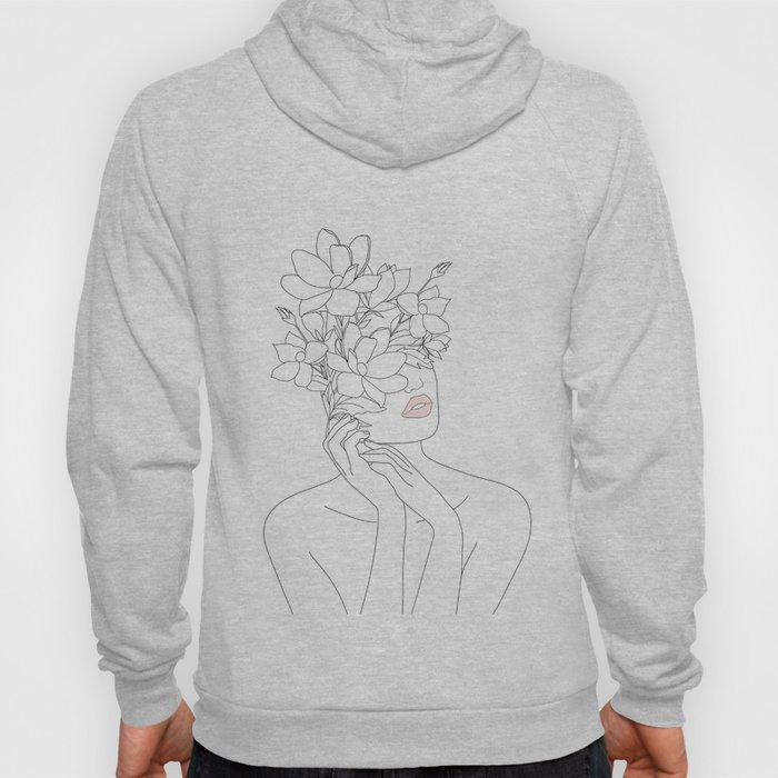 Minimal Line Art Woman with Magnolia Hoodie