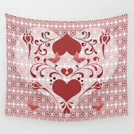 Folk Art Heart and Swirls Wall Tapestry
