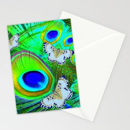 GREEN PEACOCK FEATHERS  & WHITE BUTTERFLIES FANTASY ART Stationery Cards