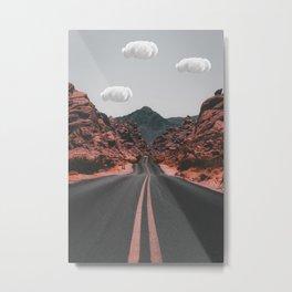 Clouds on american road Metal Print
