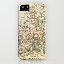 Old and Vintage Map of Germany Outline iPhone Case