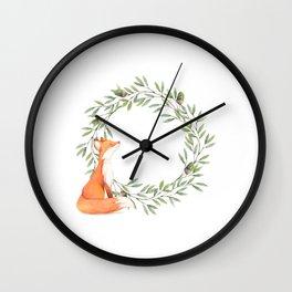 Cute Fox Looking at Acorns Wall Clock