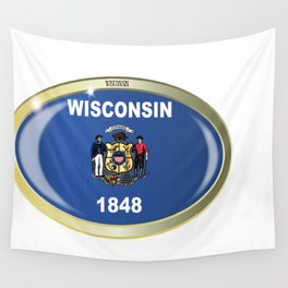 Wisconsin State Flag Oval Button Wall Tapestry