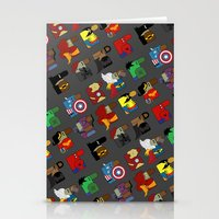 super heroes Stationery Cards featuring Super Heroes by nobleplatypus