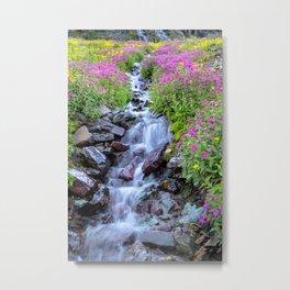 Pink & Yellow Wildflower Waterfall Metal Print