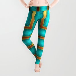 Art Deco Geometric Green and Gold Column Pattern Leggings