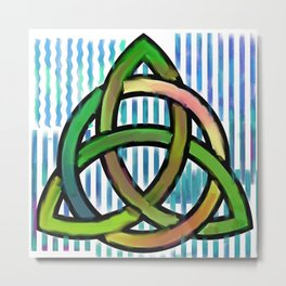 Blue and green watercolor celtic design Metal Print