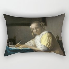 A Lady Writing Oil Painting by Johannes Vermeer Rectangular Pillow