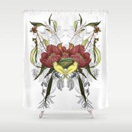 Birds in flowers Shower Curtain
