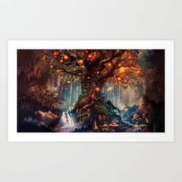 Magnificent Big Marvelous Magic Glowing Fairytale Forest Tree Light Bulbs Dreamland Ultra HD Art Print