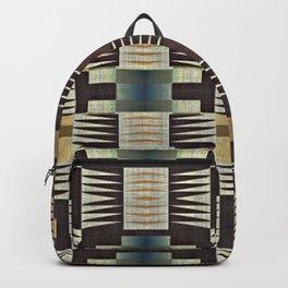 Teal Blue Pastel Orange Brown Rustic Native American Indian Cabin Mosaic Pattern Backpack