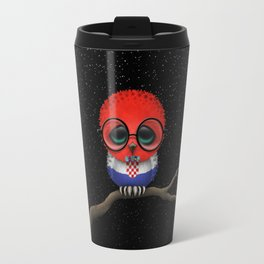 Baby Owl with Glasses and Croatian Flag Travel Mug