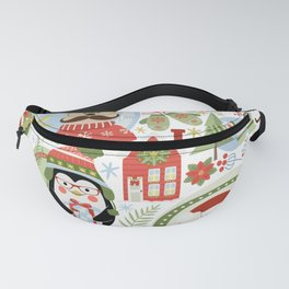 Holiday Christmas Winter Wonderland with Hipster Santa Reindeer Polar Bears and Penguins Fanny Pack