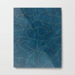 Textured blue & gold Metal Print