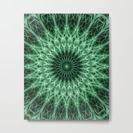 Mandala in light and dark green colors Metal Print