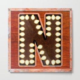 Monogram Letter N - Vintage Style Lighted Sign Metal Print