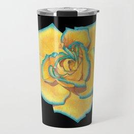 Yellow and Turquoise Rose on Black Travel Mug