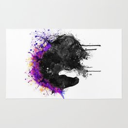 Horse Head Watercolor Silhouette Rug