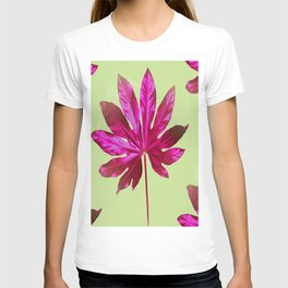 Large pink leaf on a olive green background - beautiful colors T-shirt