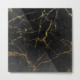 Gold Glitter and Black marble Metal Print
