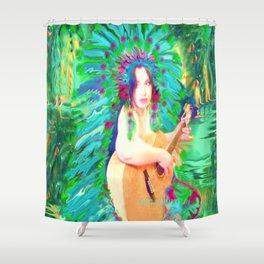 HAWAIIAN PRINCESS,INDIAN FEATHER HEAD DRESS LADYKASHMIR Shower Curtain