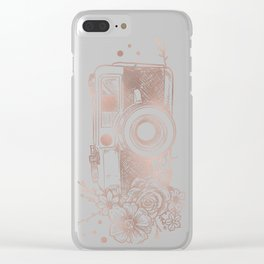 Floral Camera Pink Rose Gold Clear iPhone Case
