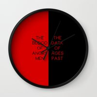 les mis Wall Clocks featuring Red & Black - Les Mis by byebyesally