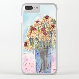 Wilted Flowers in Glass Jar Clear iPhone Case