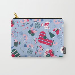Christmas Birdies - Blue Carry-All Pouch