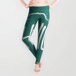 Asheville, NC - Black Bear Paw - AVL 14 White on Green Leggings